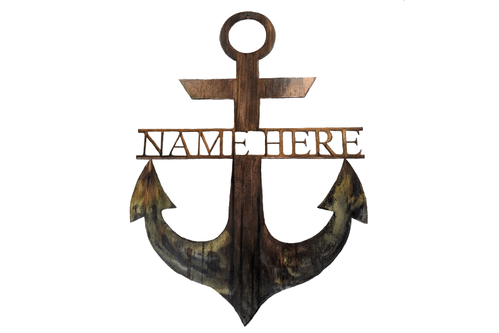 Artful MetalWorx anchor shaped metal wall art with ability to personalize