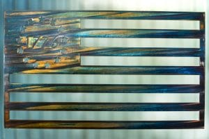 Revolutionary War American Flag made in metal with 1776 wrapped in stars metal wall decor.