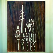 I Am Most Alive Among The Tall Trees metal wall art is a metal sign with the saying cut into the metal. This piece has a Camo Patina finish.