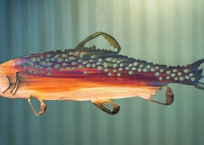 Metal art wall decor of trout with multi-color patina