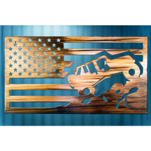 Jeep inside American Flag on woodgrain copper metal