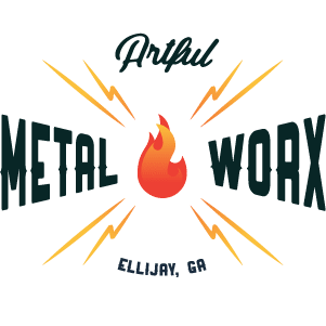 Artful MetalWorx logo with lightening bolts and flame created by Chris Bayle.