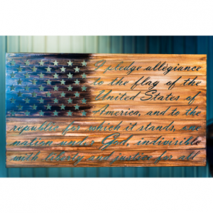 American Flag with Pledge of Allegiance cut into metal art