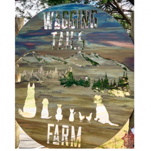 Wagging Tails Farm sign with dogs, cats and chicken looking at mountain scene on metal art