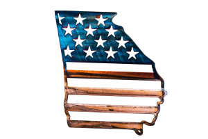 Metal wall art depicting an outline of the state of Georgia with American Flag across the outline of the state.