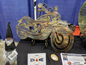 Metal wall art of motorcycle at the Great American Motorcycle Show