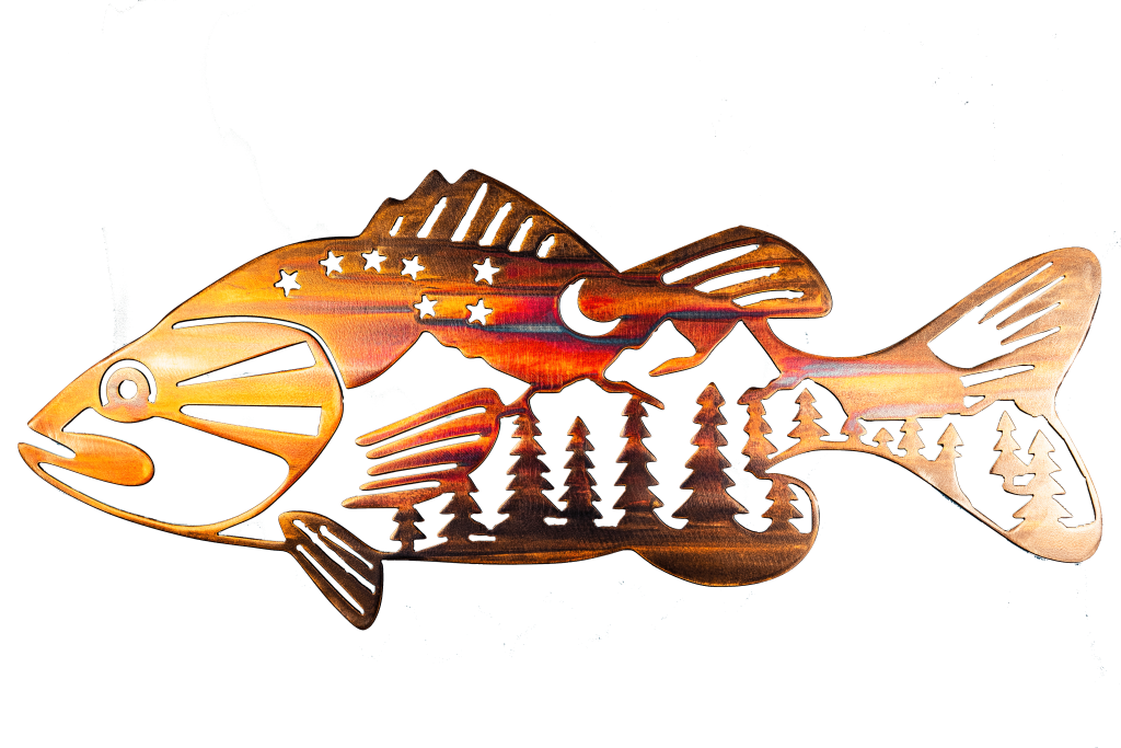 Metal wall art of bass with mountain scene in body. This metal art has a Multi-Color Patina finish and the photo has the background removed.