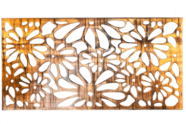 Metal Art Wall Decor rectangular Screen with Daisy pattern and a wood grain copper patina. This photo has the background removed.