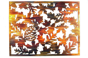 Metal wall art depicting fall leaves on metal cut square. This photo has the background removed.