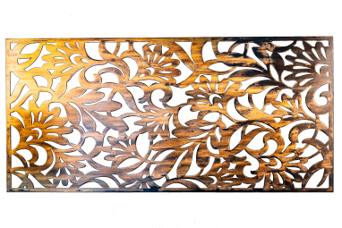 Metal Art Wall Decor rectangular Screen with floral pattern and a wood grain copper patina. This photo shows the metal art without a background.