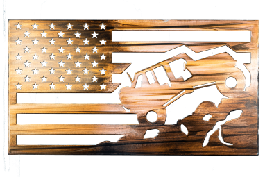 Metal wall art depicting a Jeep climbing a mountain inside an American Flag with a Wood Grain Copper Patina finish on the metal. This photo shows the metal art without the background