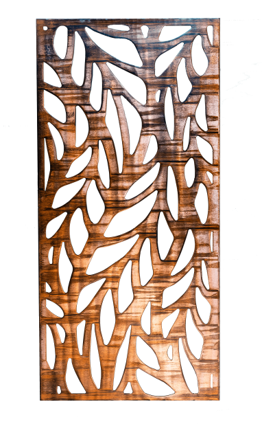 Metal wall art screen with long leaf pattern cut out of metal on wood grain copper patina finish. This picture has the background removed.