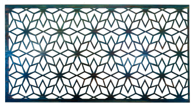 Geometric Metal Art Screen wall decor has flower patterns in a geometric shape. This photo shows the metal art without a background.