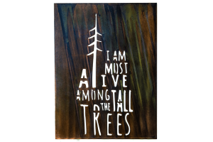 Among the Tall Trees Metal Wall Art is the quote I Am Most Alive Among the Tall Trees cut into metal. This particular piece is finished with a Camo Patina and the photo has the background removed