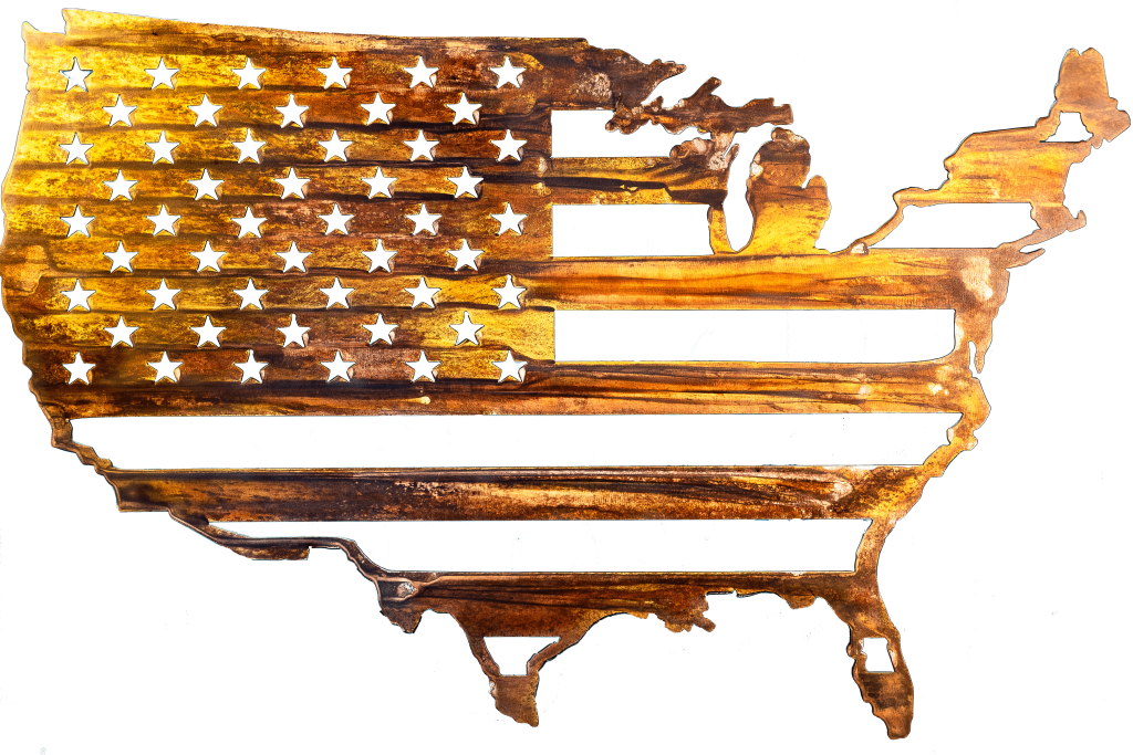 Metal wall art depicting American Flag inside outline of United States cut out of metal finished with Multi-Color and Wood Grain Copper Patina. This picture shows the flag without a background.